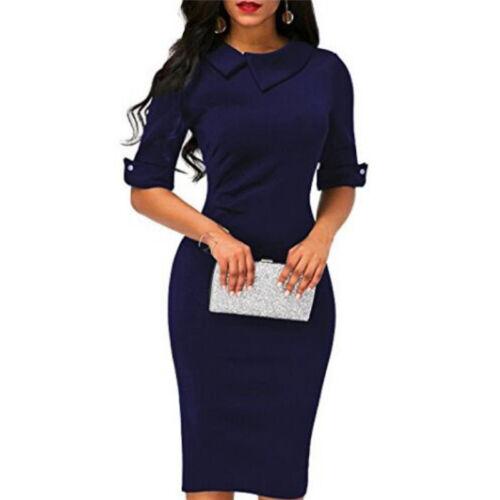 Fashion Women Elegant Bodycon Dress Short Half Sleeve Party Solid Slim Dress LH