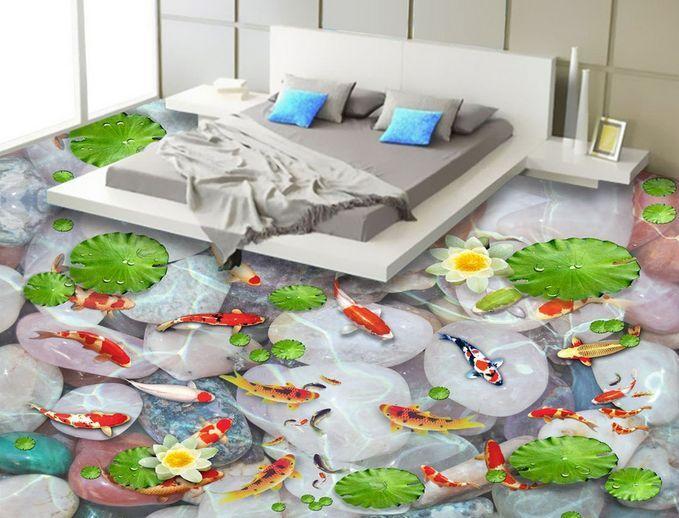 3D Lotus Pond Goldfish Floor WallPaper Murals Wall Print Decal 5D AJ WALLPAPER