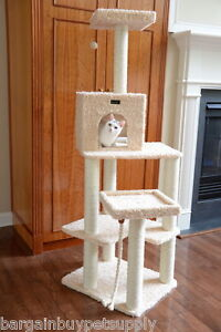 """69"""" Armarkat Cat Tree Condo Bed Perch Play House Scratching Post Beige A6902"""