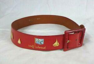 Vtg 60s Red Leather Novelty Belt Nautical Calderon For Saks Fifth Ave. Sz 28