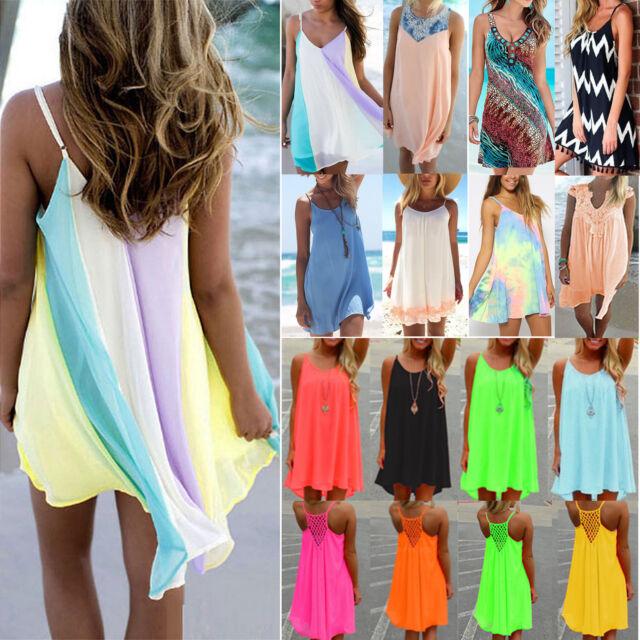 Womens Summer Chiffon Beach Wear Bikini Cover Up Kaftan Loose Swing Sun Dress AU