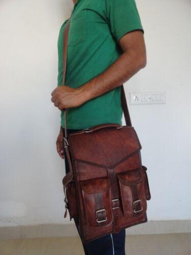 Laptop Backpack Rucksack Messenger Bag Satchel Mens Vintage Genuine Leather
