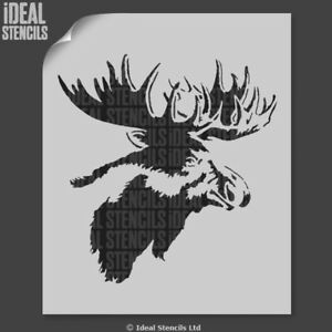 Moose Head Stencil Elk Home Wall Decor Craft Paint Fabric Furniture