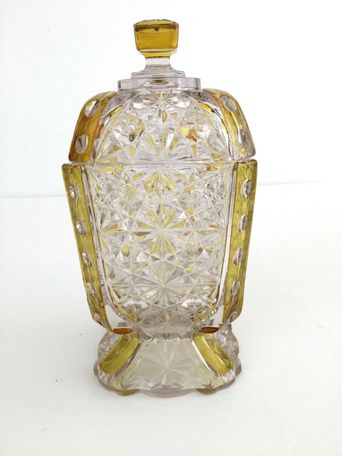 Antique Victorian Duncan & Miller clair verre pressé Sugar Bowl amberette 1890 S