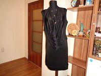 .LAK CLOTHING GREECE BLACK STRETCH LYCRA JERSEY QUIRKY TUNIC MINI DRESS-M,12-UK