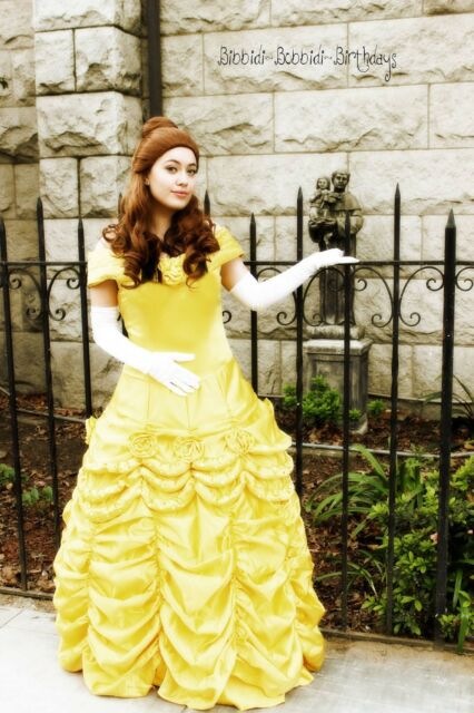 Adult Beauty and The Beast Princess Belle Cosplay Costume Ball Gown Fancy Dress*