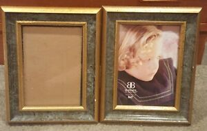 Lot-of-2-Burnes-of-Boston-Picture-Frame-5x7-Gold-Tone