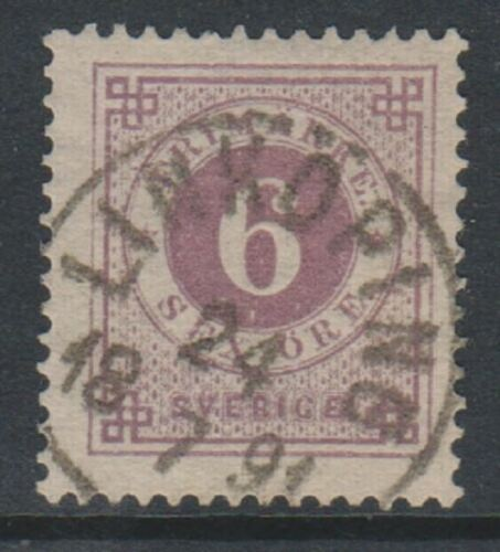 Sweden 1890, 6 ore Mauve stamp Blue Posthorn on back FU SG 33a