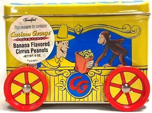 Curious-George-Circus-Peanuts-Tin-Collectible-Wagon-Coin-Bank-Brand-New
