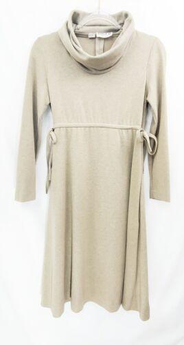 Vintage 80s Oatmeal Beige Turtleneck Dress minimal