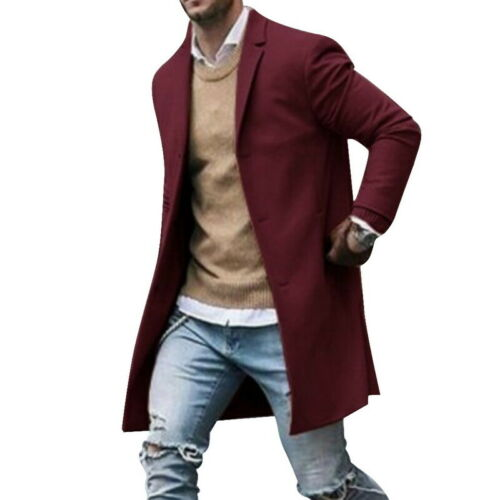 NEW Men Wool Coat Winter Trench Coat Outwear Overcoat Long Sleeve Jacket