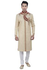 Raisonnable Men's Indian Gold Indo-occidental Sherwani 2pc Costume' (dans Le Monde Entier Post)-afficher Le Titre D'origine Et Aide à La Digestion