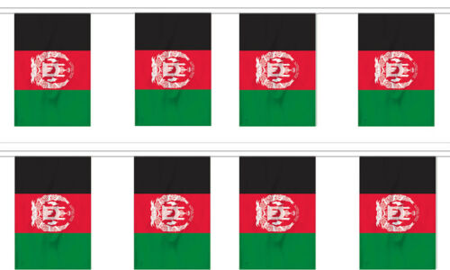 8 Flags Afghanistan 12x18 Bunting String Flag Banner