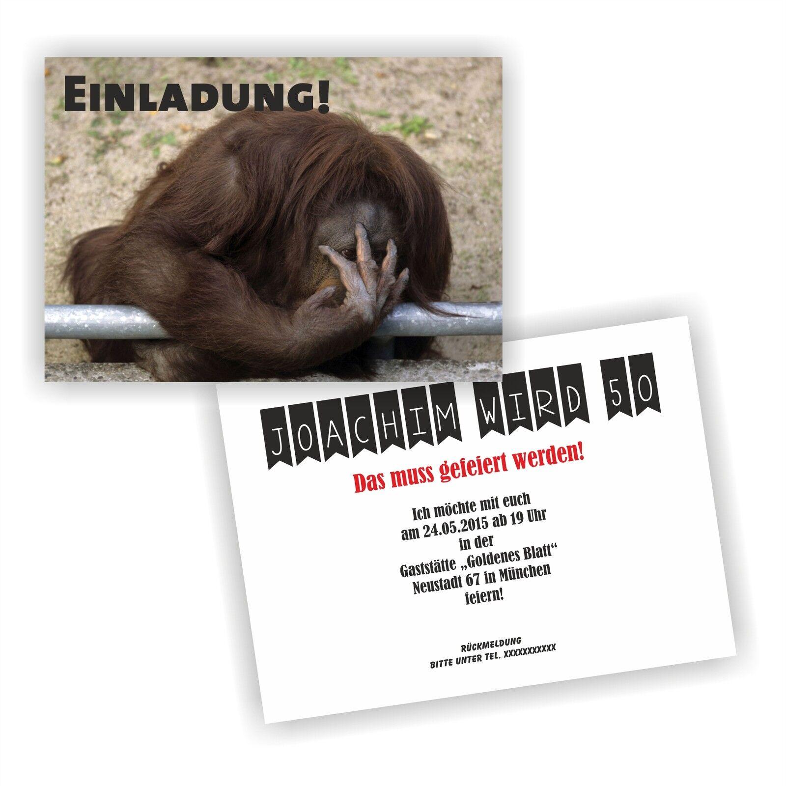Einladung Geburtstag Affe der sich schämt l Einladungskarten Fun Spaß lustig E12