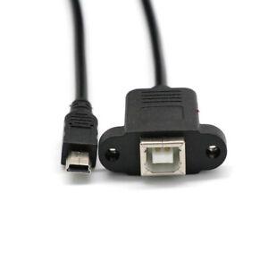 Printer-Panel-Mount-Cable-Screw-Mini-USB-5-Pin-Male-to-USB-2-0-B-Jack-Female