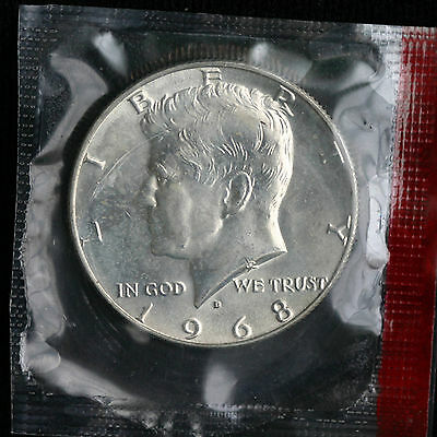 1969-D 40/% SILVER UNCIRCULATED KENNEDY HALF DOLLAR IN MINT SET CELLO