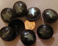 8 Large Charcoal & Silver Tone Metal Shank Buttons Domed Star 1 25mm 7388