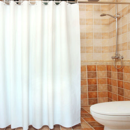 White Fabric Shower Curtain Plain Extra Wide Extra Long Standard With Hooks Ring