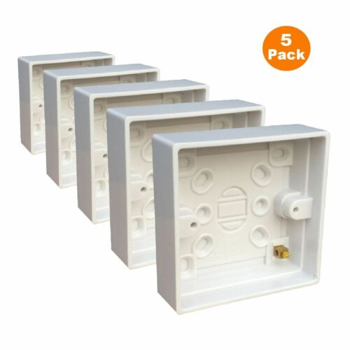 5 x Surface Mounted Back Box 25 mm Wall Pattress Single 1 vitesses Electrical Socket