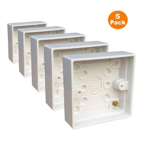 5 x Surface Mounted Back Box 25 mm Wall Pattress Single 1 vitesses Electrical Socket