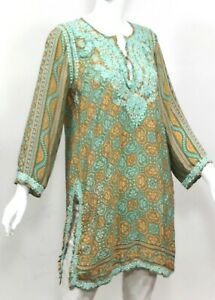 INDIAN-INDIA-100-SILK-HAND-EMBROIDERED-LONG-TUNIC-BLOUSE-TOP-KURTI-SIZE-LARGE
