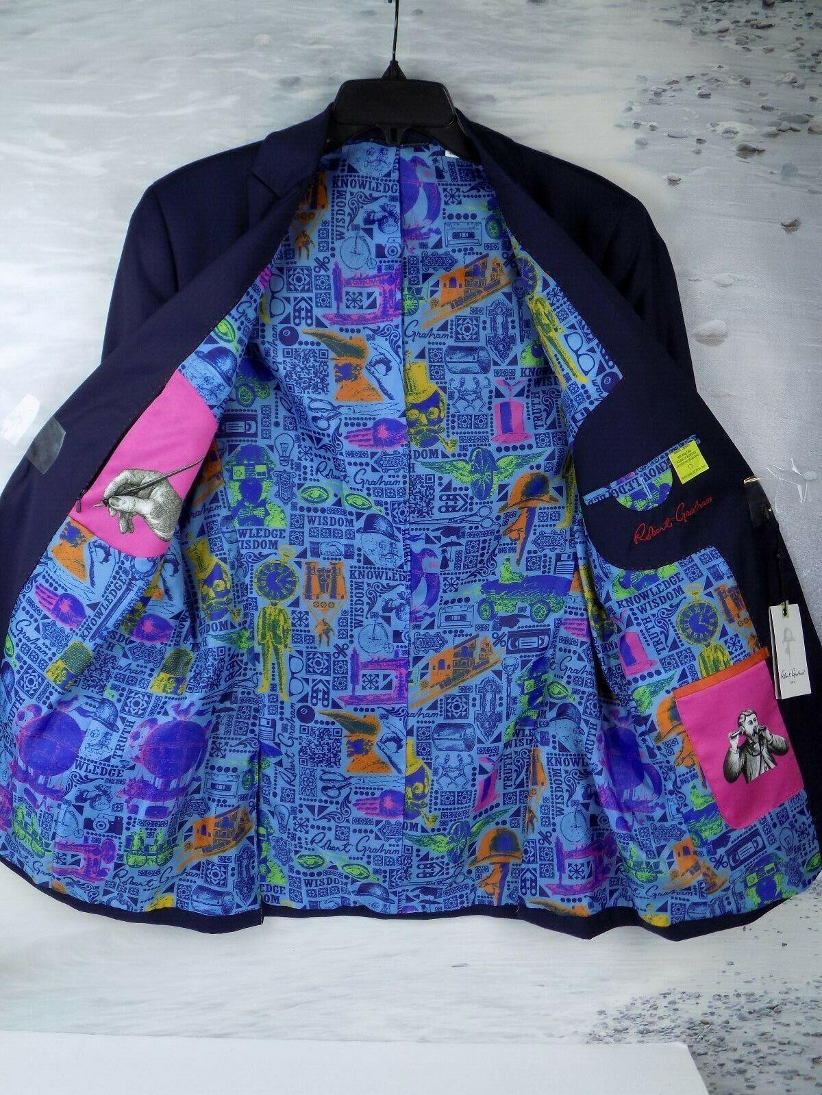 598 NWT Robert Graham Cicero Basic wolleSport coat Navy männer's Größe-36
