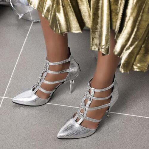 Details about  /34-48 Womens Stilettos High Heels Back Zipper Ankle Sandals Boots Pumps Shoes SZ