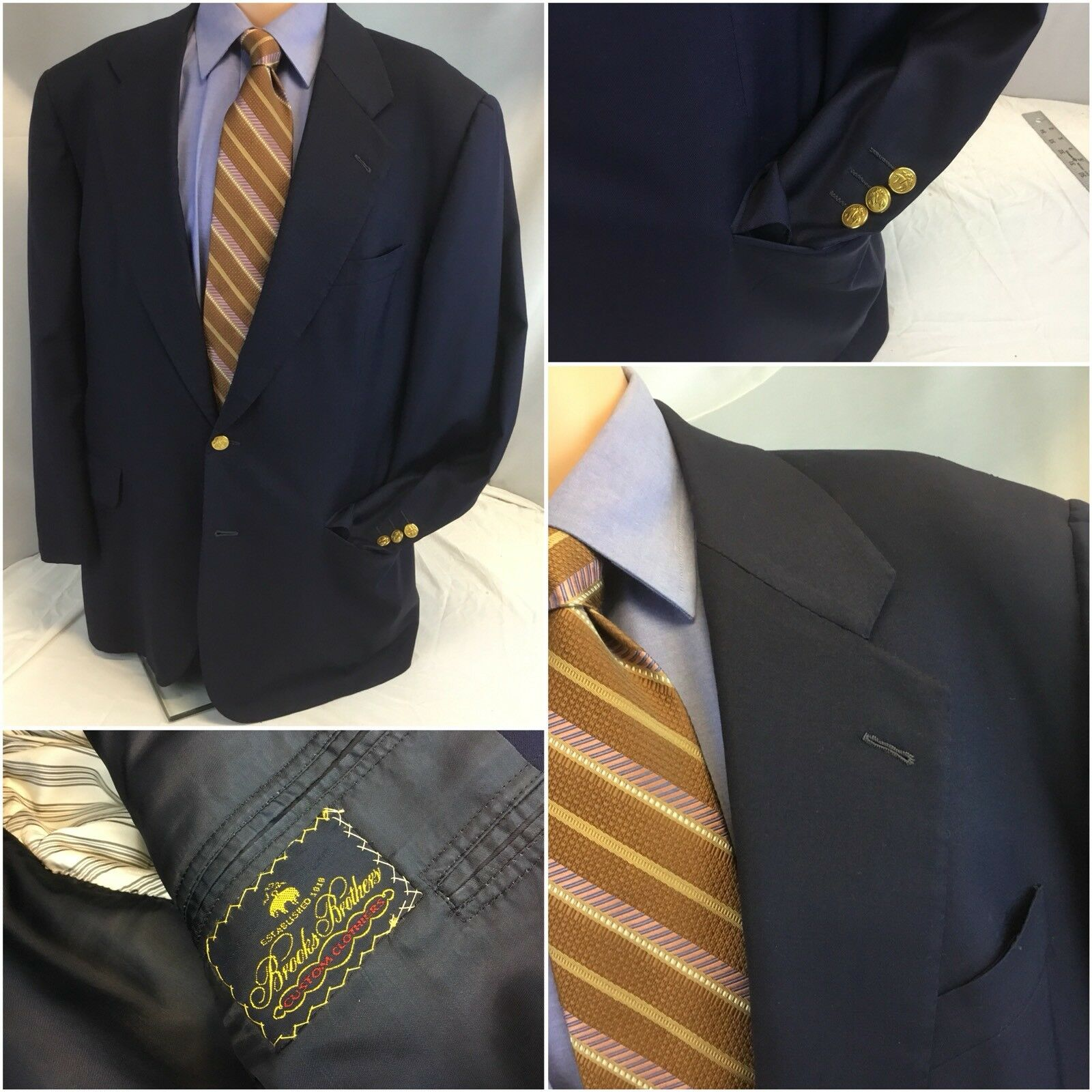 Brooks Brothers Blazer 42R Blau 2b Gold Engraved Custom Clothiers 42 R YGI H8-48