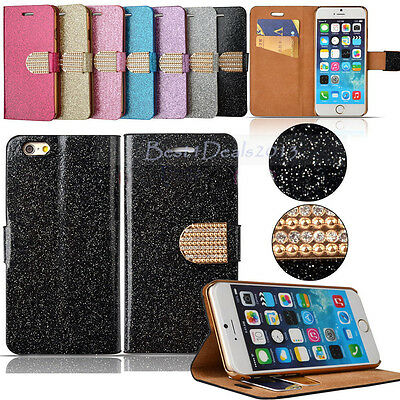 Shiny Leather Magnetic Flip Bling Wallet Stand Cover Case For Various Phones HOT