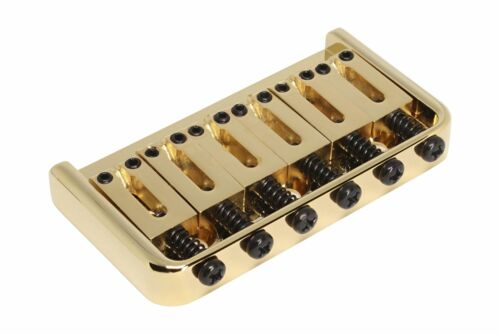 Gold Hard Tail Guitar Bridge String Thru Fixed Bridge w// Steel Saddles