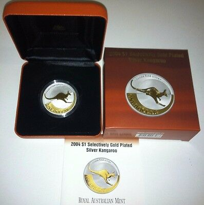 2005 KANGAROO GOLD PLATED Silver Proof 1oz Coin
