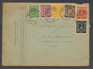 Germany 1947 Numerals 6 color franking Merseburg to U.S.