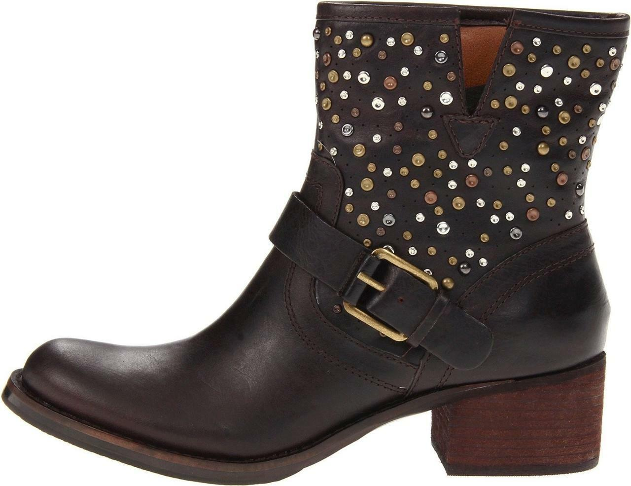 femmes chaussures Lucky Brand HIDEE 2 Short Ankle bottes Leather Dark marron Studs