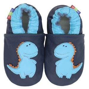 carozoo soft sole leather baby shoes bee light blue 12-18m
