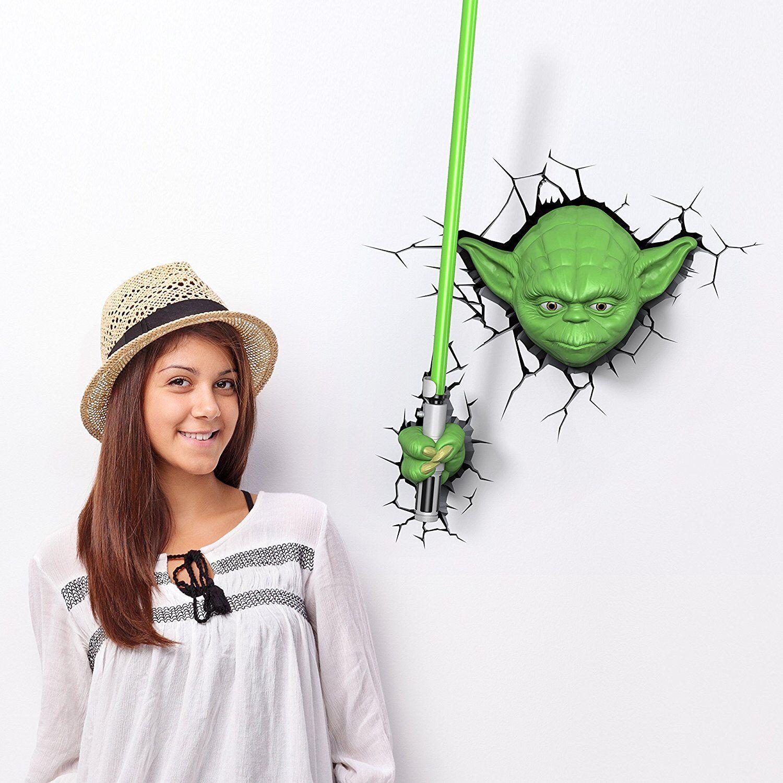 Star Wars Lampe Mural 2 Jedi Master Yoda et Epée Illumination Décoration