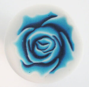 Fimo polymer clay blue rose cane nail art by orly kliger