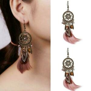 Fashion-Boho-Womens-Feather-Owl-Leaf-Tassel-Earrings-Dangle-Jewelry-Wed-Lon-H0B9