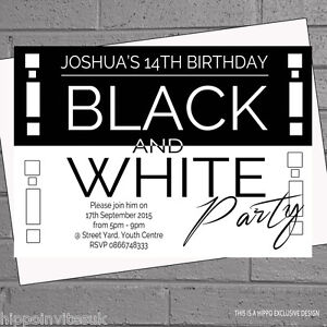 personalised black and white themed birthday party invitations x 12