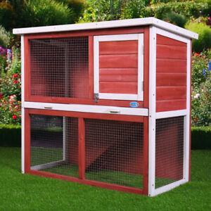 36 Rabbit Wood Hutch Poultry Cage Habitat Wooden Chicken Coop Hen