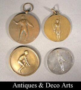 4-Belgische-Art-Deco-Bronzen-Sportmedailles-4-Medailles-Sportives-Belge-en-Bro