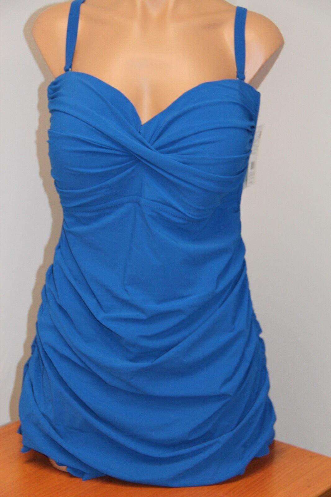 Profile by Gottex Swimsuit 1 one piece attached Dress Plus Sz 22W Ocean bluee