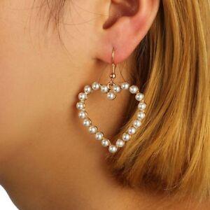Image Is Loading White Pearl Love Heart Earring Drop Dangles Piercing