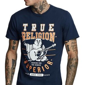 True-Religion-Men-039-s-Buddha-Superior-Logo-Tee-T-Shirt-in-Ace-Blue