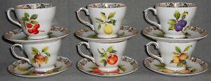 Set (6) Duchess Bone China FRUIT MOTIF PATTERN Cups and Saucers ENGLAND