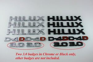 Two-3-0-Badges-for-2004-2015-Hilux-Matte-Black-or-Chrome
