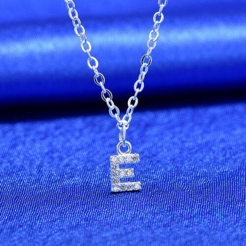 Silver Plated Alphabet Letter Initial Cubic Zircon Friendship Chain Necklace UK