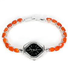 Sterling Silver 925 Oval Genuine Natural Fire Opal & Lab Diamond Watch 6.75 In