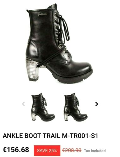 NEW ROCK ~ Black leather lace up ankle Boots ~ US: