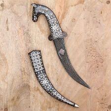 Horse Face Dagger Rajput Khanjar Damascus Handmade Decorative Silver Wire Work
