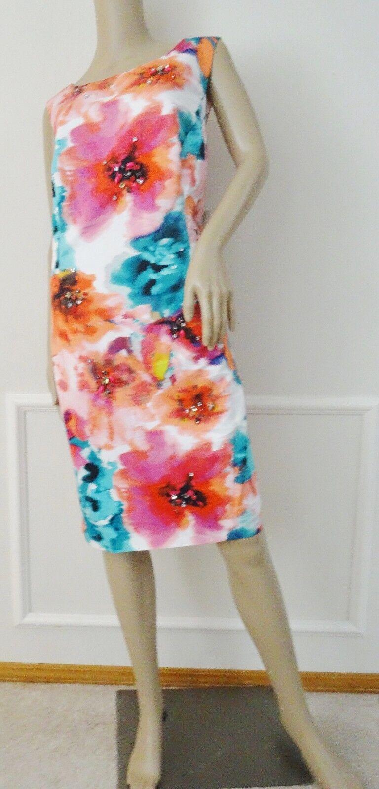 Eliza J  Floral Print Sheath Dress Sz 16W Plus Rosa Teal Weiß Embellished